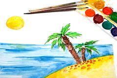 Child's Painting of tropical coast, sun and palm. Brushes and paints Stock Images
