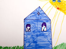 Child`s picture. House in sunny day Stock Images