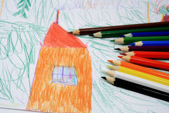 Child S Picture And Pencils Stock Images
