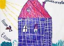Child`s picture. Blue house  in sunny day. Stock Photography