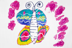 Child`s picture. Butterfly and flower. Royalty Free Stock Photography