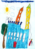 Child's picture of fairy-tale castle. Royalty Free Stock Images