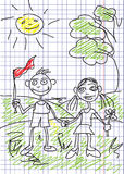 Child's picture is in a notebook. Vector. Royalty Free Stock Image