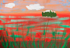 Child's picture of summer poppy field. Child's gouache picture of summer poppy field Stock Images