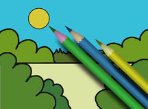 Child's picture and varicoloured pencils Stock Images