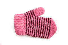 Child's pink mittens with black stripe Stock Images
