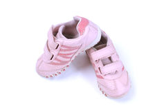 Child's Pink Running Shoes Royalty Free Stock Photos
