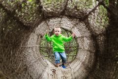 Child's play. Vienna's Zoo, a tunnel constructed of hemp ropes for childrens entertainment Stock Photos