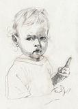 Child-s portrait. Hand made picture, pencil technique - little girl Royalty Free Stock Images