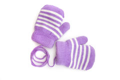 Child's purple mittens with white stripe Royalty Free Stock Image