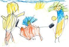 Child& x27; s que dibuja a la familia feliz Fotos de archivo libres de regalías