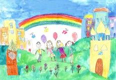 Child& x27; s que dibuja a la familia feliz con dos niños para un paseo Foto de archivo libre de regalías