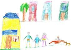 Child& x27; s que dibuja una familia y un coche felices Fotografía de archivo
