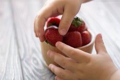 Child& x27; s ręki trzymają puchar z truskawkami Zdjęcie Stock