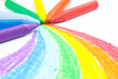 Child's rainbow crayon drawing Stock Photo