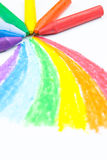 Child's rainbow crayon drawing Stock Images