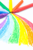 Child's rainbow crayon drawing Royalty Free Stock Photography