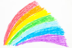 Child's rainbow crayon drawing Royalty Free Stock Images