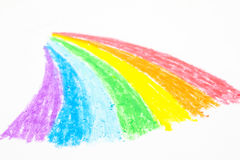 Child's rainbow crayon drawing Stock Photography