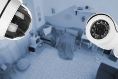 Child`s room under CCTV cameras surveillance. Above view royalty free stock photography