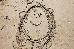 Child's sand drawing Stock Photos