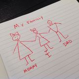 Child's simple drawing of a Familly Stock Image