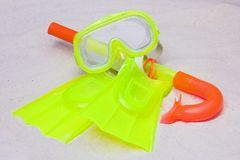 A child's snorkel, mask & flippers Stock Photos