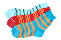 Child's striped socks. Isolated on a white background Stock Photography