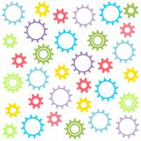 Child`s texture of colored gears on a white background. Vector illustration. Eps 10 vector illustration