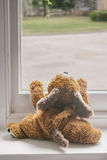 Child's toy looking out the window Royalty Free Stock Photography