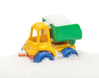 Child`s toy truck in snow Stock Photo