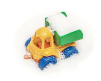 Child`s toy truck in snow Stock Photography