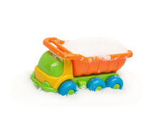 Child`s toy truck in snow Royalty Free Stock Photos