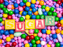 Sugar spelled out in coloful blocks Royalty Free Stock Photo
