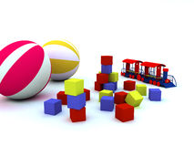 Child's toys. On a white background stock illustration
