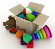 Child's toys are in a box Royalty Free Stock Photos