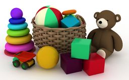 Child's toys in a small basket Stock Image
