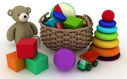 Child's toys in a small basket Royalty Free Stock Photography