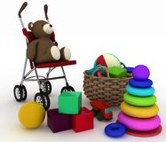 Child's toys in a small basket and pram Royalty Free Stock Photo