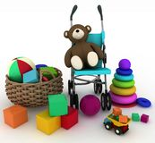Child's toys in a small basket and pram Stock Photography