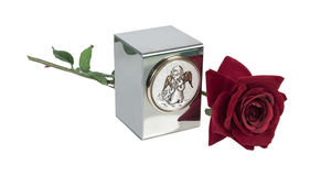 Child's Urn with Angel Image and Rose Stock Image