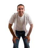 Child's View. A view of a man bent over smiling taken from a young child's point of view, isolated against a white background Stock Photos