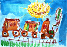 Child's watercolor picture of train. Stock Photo