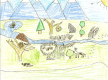 Child's wildlife drawing. Including a deer, skunk, bee hive, mountains and more Royalty Free Stock Images