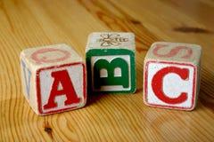 Child's Wooden blocks. Children's wooden blocks spelling ABC Stock Image