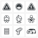 Child safety Icons. Vector Illustration. Stock Photo