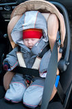 Child in safety seat. The baby sleeps in a car seat on forward sitting of the car. Top view Royalty Free Stock Images