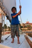 Child on Sailboat in the Nile river Royalty Free Stock Images