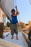 Child on Sailboat in the Nile river Stock Images