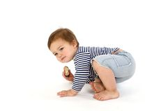 Child  in sailor's striped vest Stock Photos
